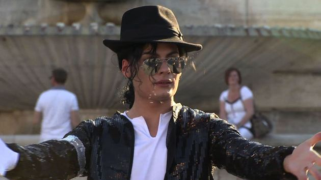 Emiliano Fiacchi performing as Michael Jackson in Rome's Piazza del Popolo. Freeze frame of video shot by AP Cameraman Paolo Lucariello
