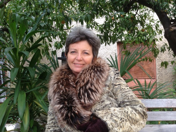 Italian artist Rossana Petrillo in the courtyard of her home in Caserta, Italy. January 26, 2014. Photo by Trisha Thomas
