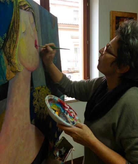 Rossana Petrillo painting in her studio in Caserta, Italy. January 26, 2014. Photo by Trisha Thomas