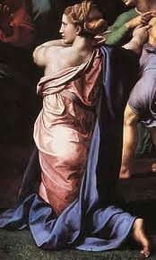 """Detail from Raphael's """"The Transfiguration"""" in the Pinacoteca at the Vatican Museums.  Model for figure was Giulia Farnese"""