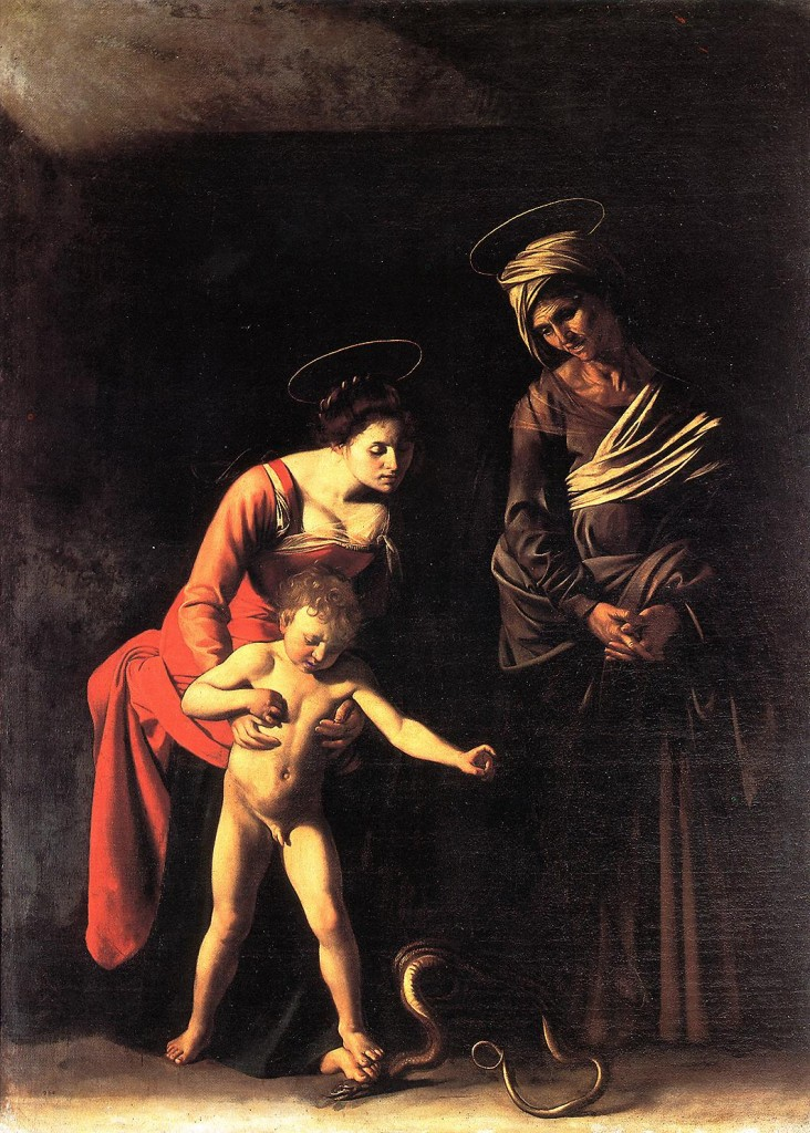 """Caravaggio's """"Madonna and the Serpent"""", a painting in the Borghese Gallery in Rome.  The model for the Madonna was a Roman prostitute named Magdalena Antoinetti and the model for the Christ child was her son Paolo Antoinetti."""