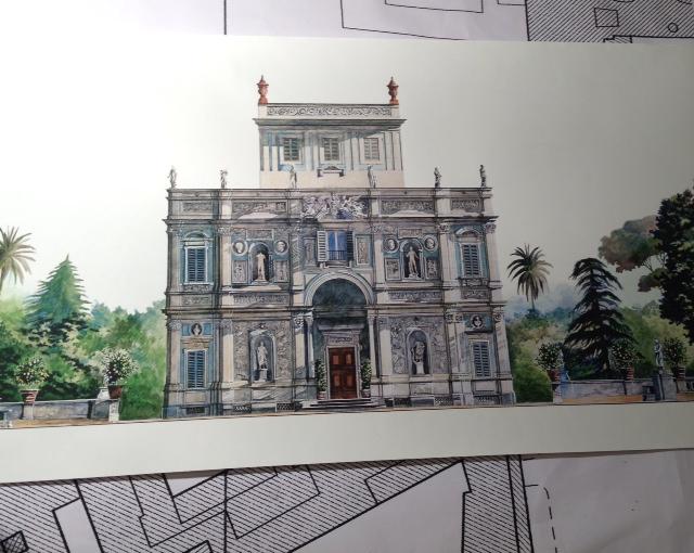 Un disegno di Villa Pamphilj di Marcella Morlacchi appeso alla parete del suo studio. Foto di Trisha Thomas, Maggio 2014
