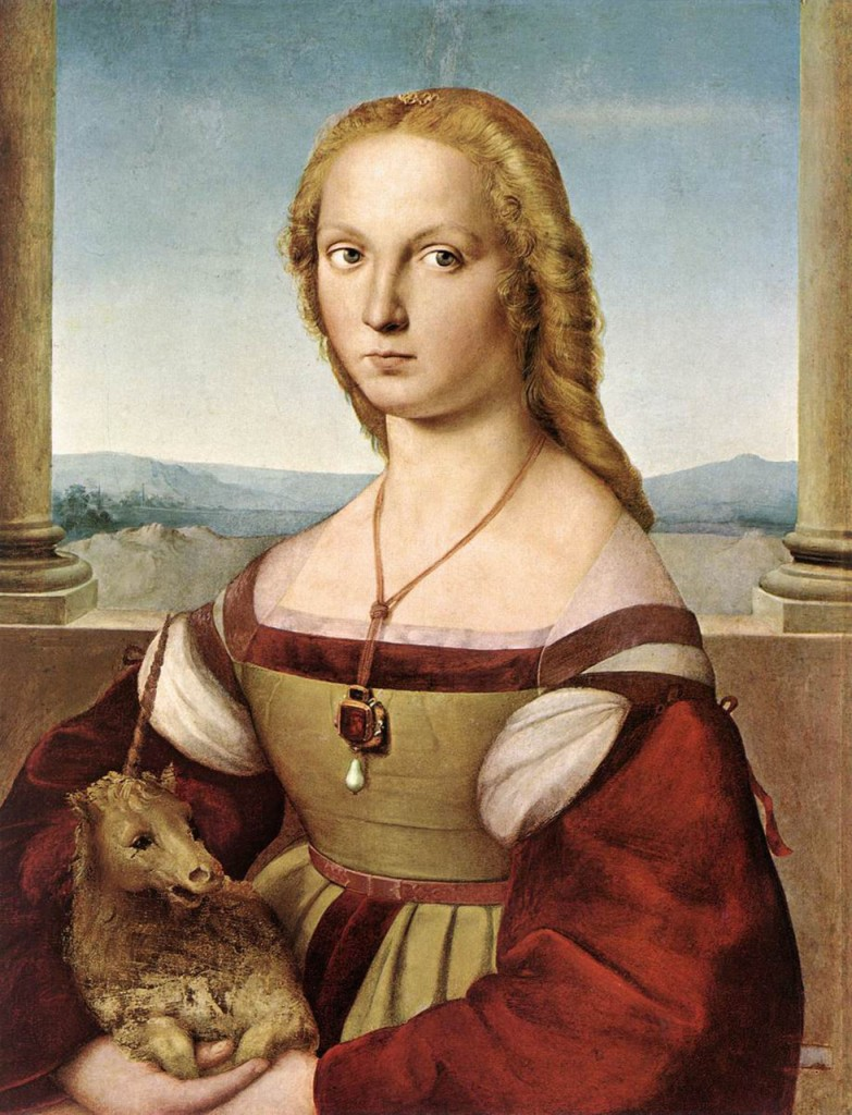Portrait of Young Woman with the Unicorn by Raphael at Borghese Gallery in Rome.  The model was the young beauty Giulia Farnese