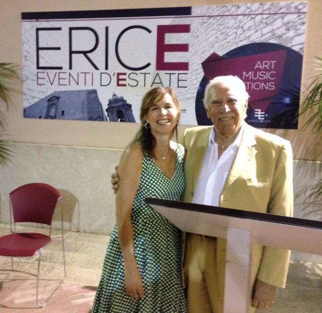 """Me with author Luigi Giannitrapani at the presentation of """"Il Viaggio dei Romantici alla Ricerca ella Felicita' """" in Erice, August 31, 2014. Photo by Lynn Rodolico"""