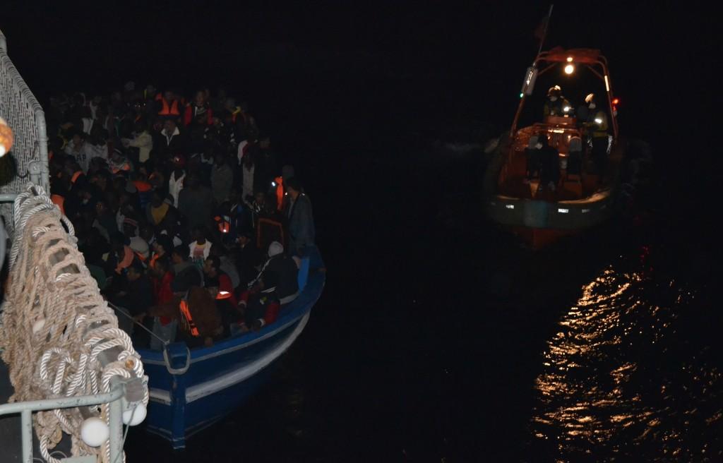 Migrants' ship next to Portuguese Vessel Viana Do Castelo. Friday, November 14, 2014. Credit: Portuguese Navy