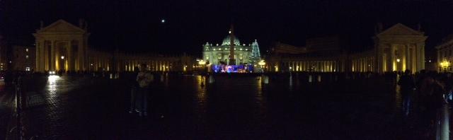 Panoramic photo of St. Peter's Square. Photo by Trisha Thomas. December 26, 2014