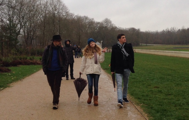 Gustavo, Chiara and Nico heading towards Chambord Castle in the Loire Valley, France. Photo by Trisha Thomas. January 3, 2015