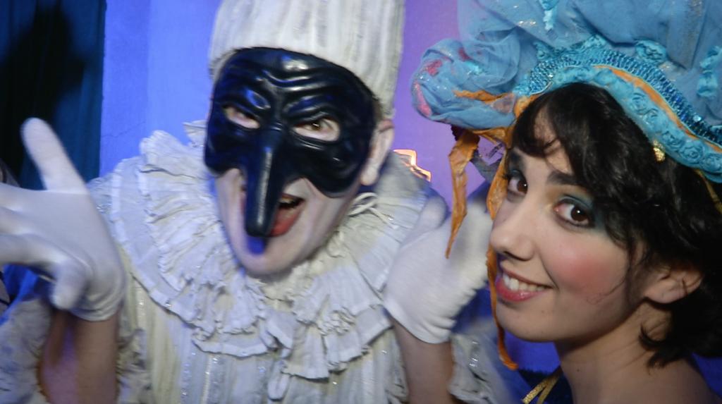 Commedia Dell'Arte characters Pulcinella and Smeraldina at Il Ballo Del Doge. February 7, 2015. Freeze Frame of video shot by AP Television Cameraman Gigi Navarra.