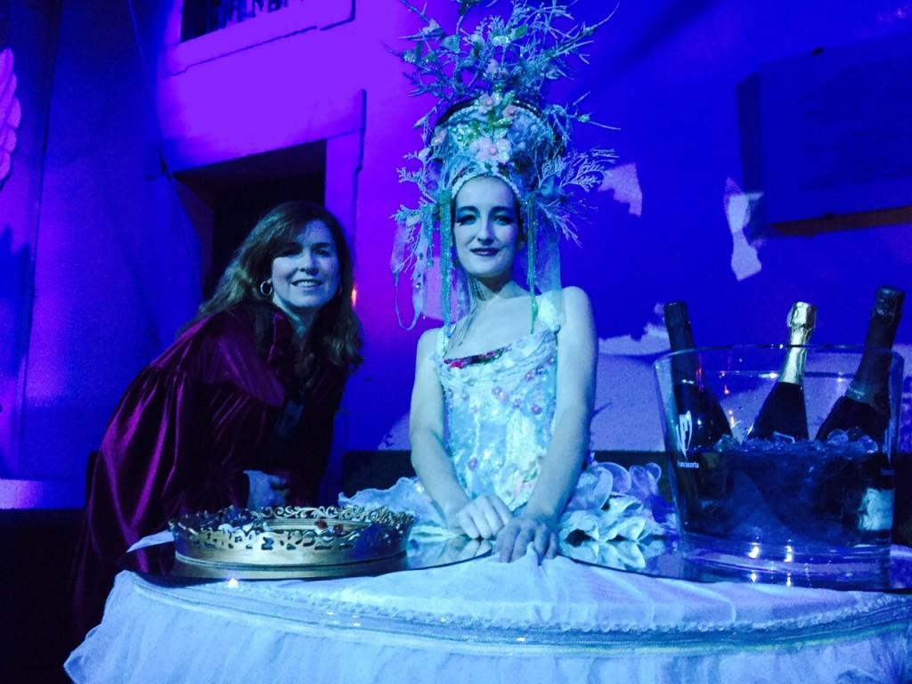 Trisha Thomas (aka Mozzarella Mamma) trying to talk to a costumed table at Il Ballo del Doge. February 7, 2015. Photo by AP Cameraman Gigi Navarra.