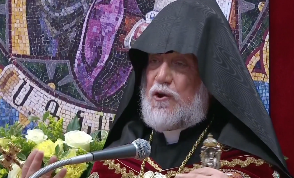 Aram I  Catholicos of the Holy See of Cilicia of the Armenian Apostolic Church speaks in St. Peter's Basilica. April 12, 2015. Freeze frame of video shot by Vatican TV.
