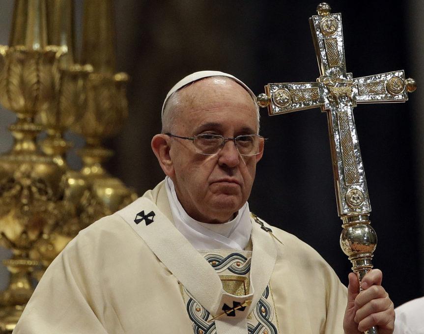 Pope Francis celebrates and Armenian-rite Mass to commemorate the 100th anniversary of the Armenian Genocide. April 12, 2015. Photo by AP Photographer Gregorio  Borgia for Mozzarella Mamma