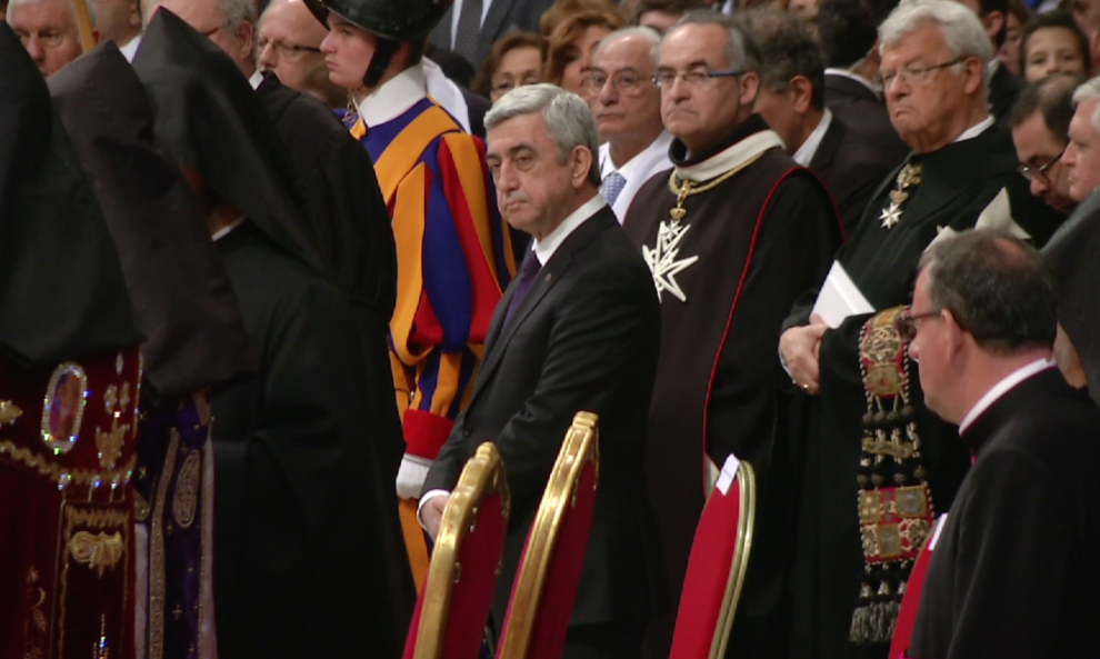 President of Armenia Serzh Sargsyan at the Armenian Rite Mass in St. Peter's Basilica in honor of the 100th anniversary of the Armenian Genocide. Freeze frame of video shot by AP Television cameraman Luigi Navarra. April 12, 2015