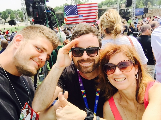 AP Television Team Gigi Navarra, Pietro De Cristofaro and Trisha Thomas waiting for Michelle Obama to arrive at Vicenza Army Garrison.  June 19, 2015