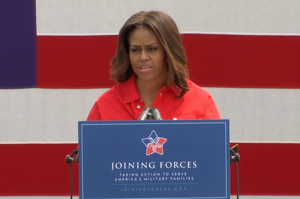 """Michelle Obama speaking about her """"heartache"""" over the """"senseless tragedy"""" in Charleston, South Carolina.  June 19, 2015.  Freeze frame of video shot by AP Television Cameraman Gigi Navarra"""