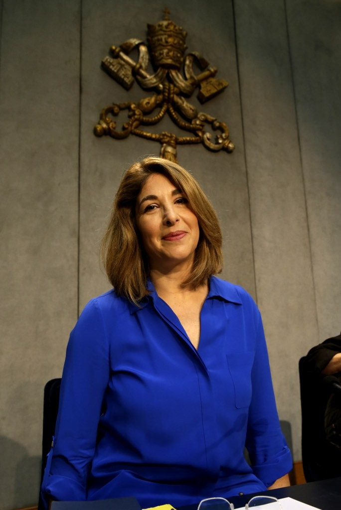 Naomi Klein at press conference on Climate at the Vatican. July 1, 2015. Photo by AP Photographer Andrew Medichini for Mozzarella Mamma