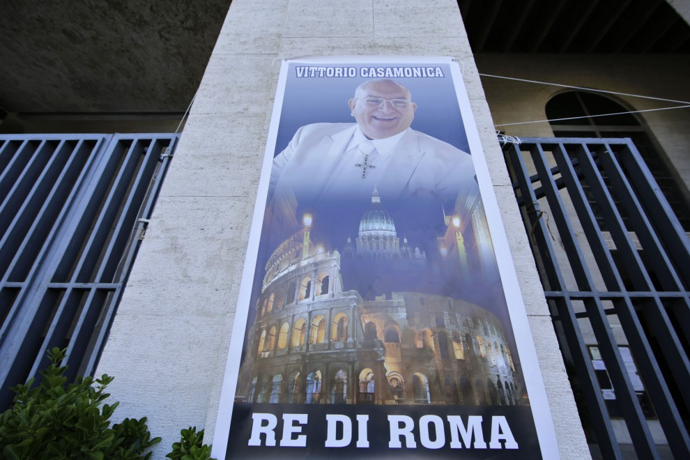 Poster of Vittorio Casamonica, head of the Casamonica criminal clan, outside Don Bosco Church in Rome. August 20, 2015. Credit: ANSA