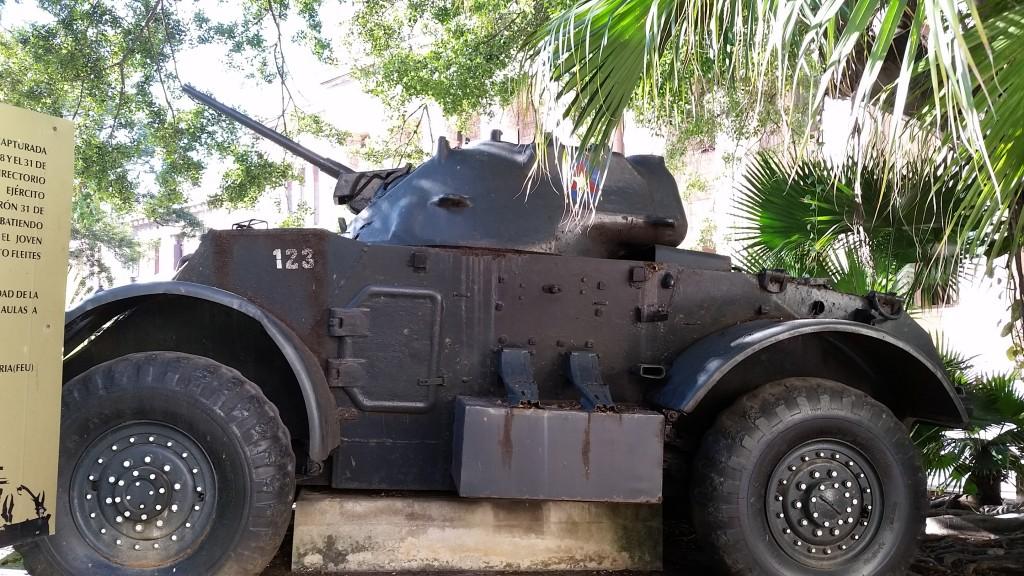Tank used by Fidel Castro outside the University of Havana Cuba. Photo by Gwen Thomas. March 18, 2015