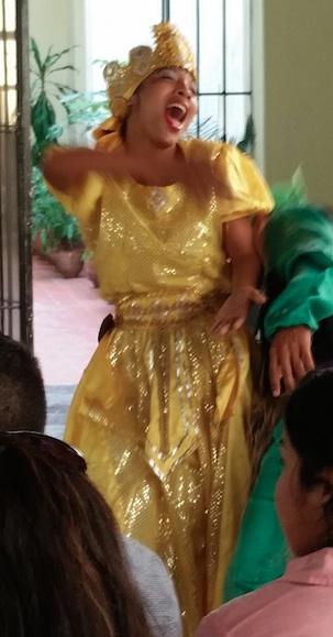 Cuban dancer performing as Santeria goddess Ochun.   Havana, Cuba, March 20, 2015. Photo by Gwen Thomas
