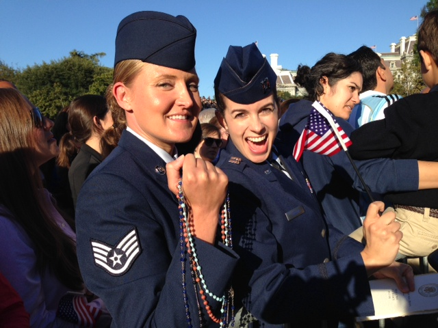 Tatiana Toquica and Jillian Kozub of the US Air Force waiting for Pope Francis on the South Lawn of the White House. September 23, 2015. Photo by Trisha Thomas