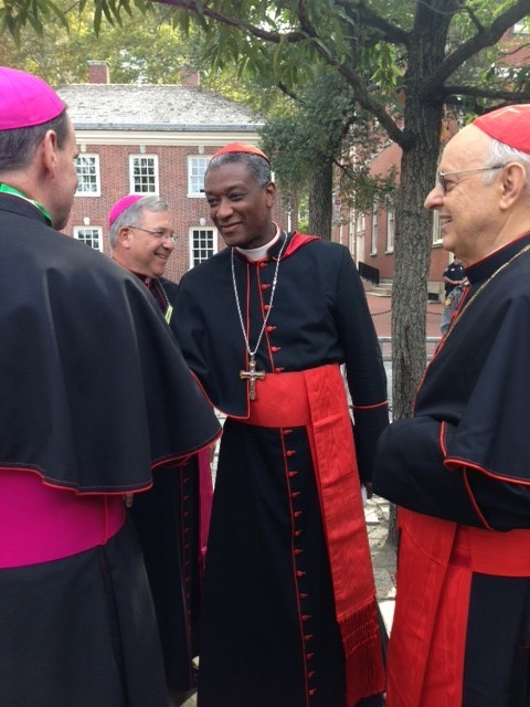 Haitian Cardinal Chibly Langlois at Independence Hall in Philadelphia waiting for Pope Francis. September 26, 2015. Photo by Trisha Thomas