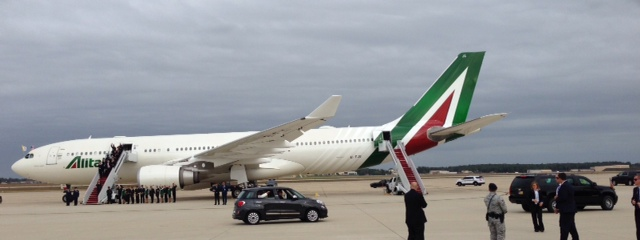Pope Francis leaves Andrews Air Force Base after arriving in the US in a Fiat 500 L. Photo by Trisha Thomas, September 22, 2015