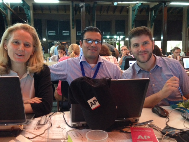 AP Rome Bureau Chief Nicole Winfield with AP wire colleagues Eduardo Castillo (Center) and Mike Weissenstein at press center in Havana, Cuba. September 20, 2015. Photo by Trisha Thomas