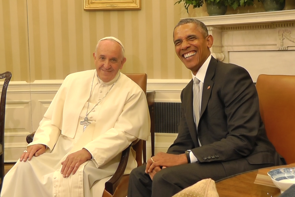 Pope Francis and President Obama in the Oval Office. September 23, 2015. Freeze frame of video shot by Trisha Thomas for AP Television.