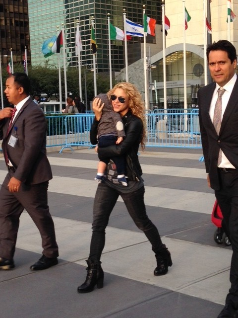 The singer Shakira enters the United Nations. She was expected to sing later in the day, after the Pope's Speech. New York, September 25, 2015. Photo by Trisha Thomas
