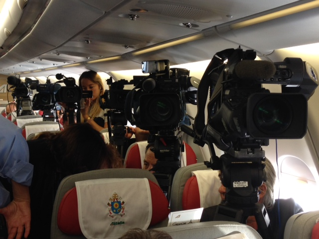 TV Cameras in position on Papal Plane. September 19, 2015. Photo by Trisha Thomas