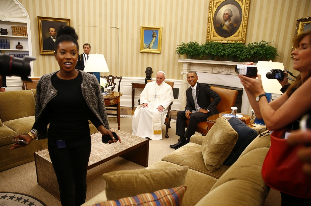 President Obama and Pope Francis in the Oval Office, and that is me with the little camera over on the right. Photo by Reuters photographer Tony Gentile for Mozzarella Mamma. September 23, 2015