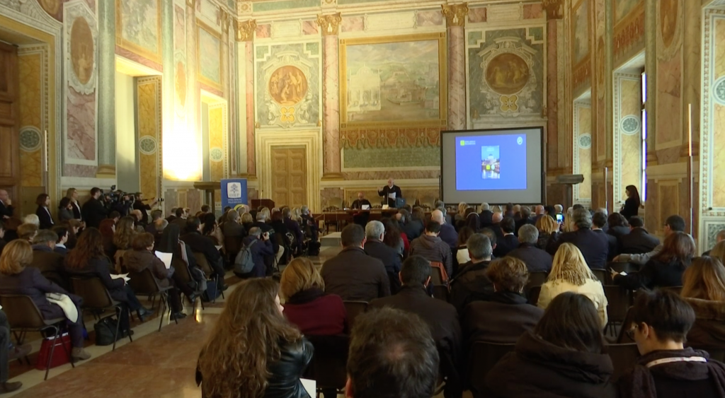 Press Conference on the Jubilee of Mercy at the Lateran Palace in Rome. December 3, 2015.  Freeze frame of video shot by AP Television VJ Paolo Santalucia