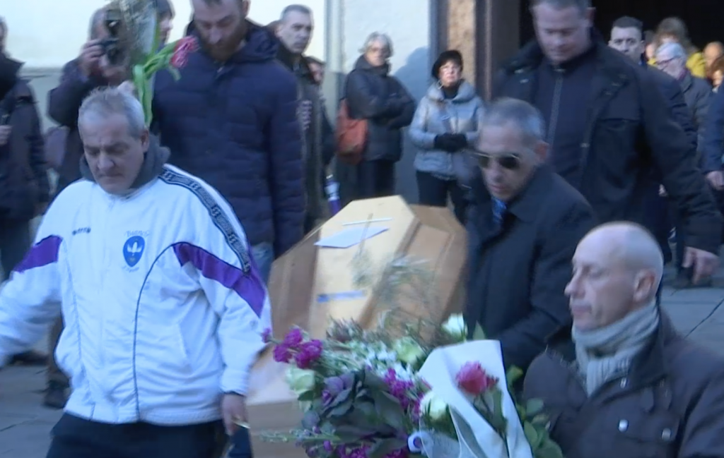 Ashley Olsen's casket being carried out of the Santo Spirito Basilica in Florence following her funeral. Freeze frame of video shot by AP Television cameraman Gigi Navarra. January 13, 2015