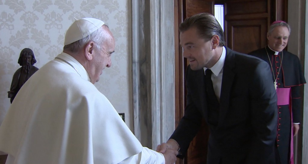 Pope Francis meets with Leonardo Di Caprio at the Vatican. Thursday, January 27, 2016. Freeze frame of video shot by Vatican TV