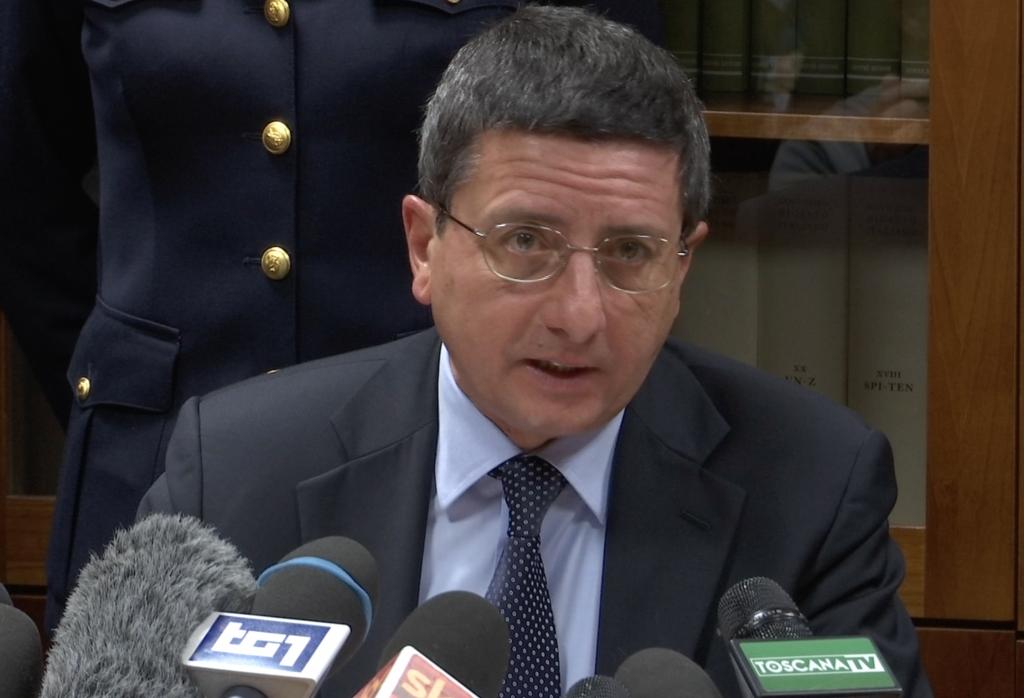 Florentine Prosecutor Giuseppe Creazzo talking about the arrest in the Ashley Olsen case.  January 14, 2015 Freeze frame of video shot by AP Television cameraman Gigi Navarra.