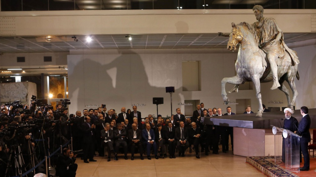 Italian Prime Minister Matteo Renzi and Iranian President Hassan Rohani speak in front of the Equestrian Statue of Marcus Aurelius at the Capitoline Museum in Rome.  January 25, 2016