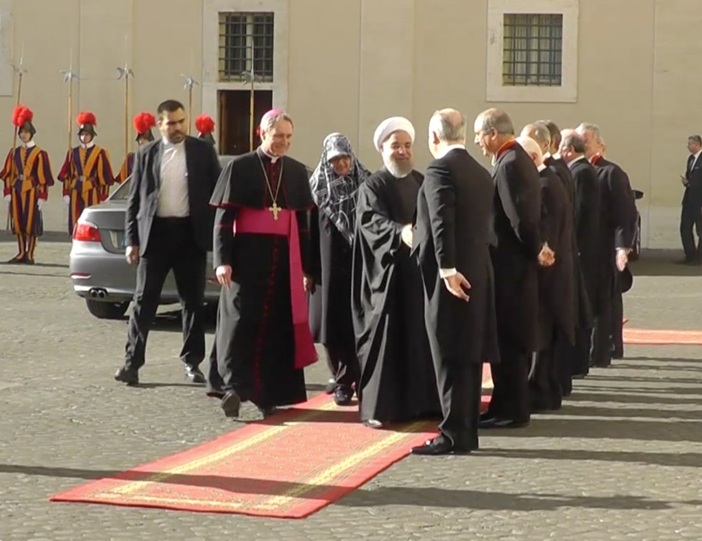 President Hassan Rouhani of Iran arriving at the Vatican. January 26, 2016. Freeze frame of video shot by Trisha Thomas