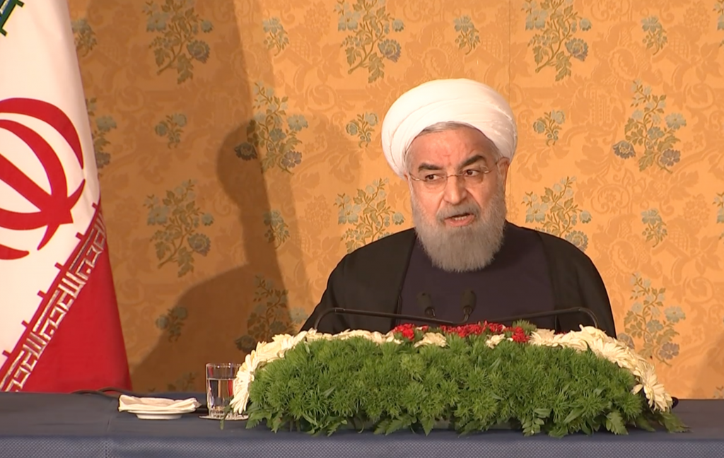 President Hassan Rouhani of Iran holds press conference in Rome.  January 27, 2016. Freeze frame of video shot by AP Television Video-Journalist Paolo Santalucia
