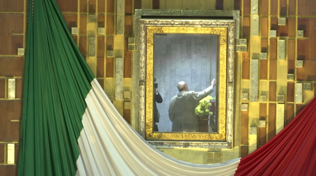 Pope Francis in the Camarin with the cloak (tilma) with the image of Our Lady of Guadalupe. Freeze frame of video shot by AP VJ Paolo Santalucia. February 13, 2016