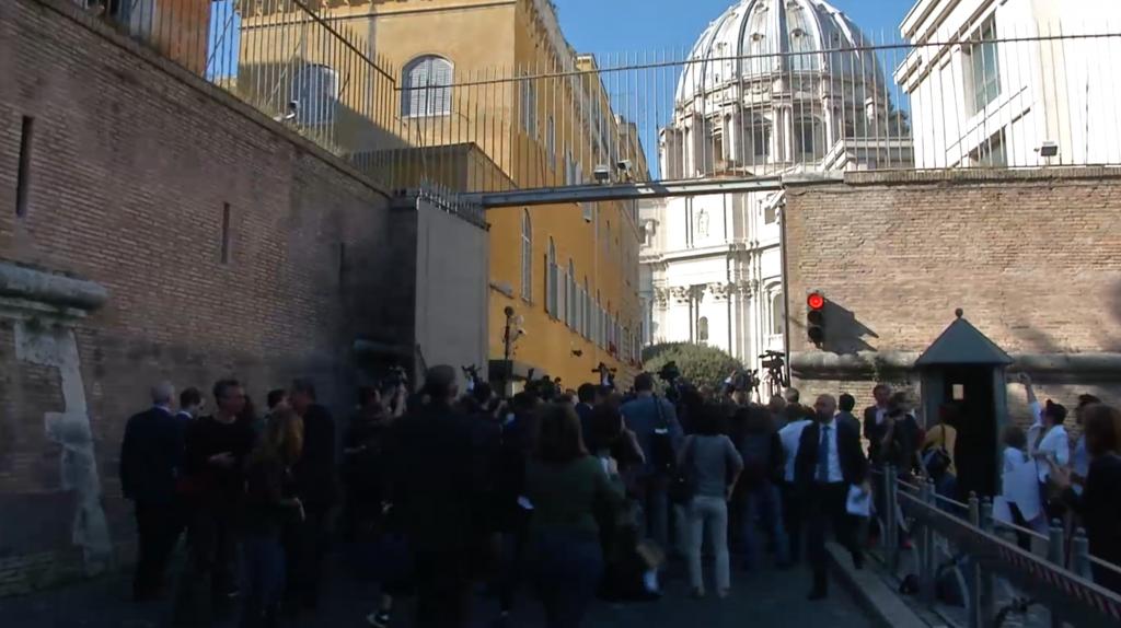 Press pack blocked by Gendarmes at Perugino gate as Bernie Sanders heads back inside. April 15, 2016. Freeze frame of video shot by AP Cameraman Gigi Navarra