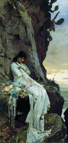 Painting of an imagined Julia alone on a deserted island but Russian Painter Pavel Svedomskiy