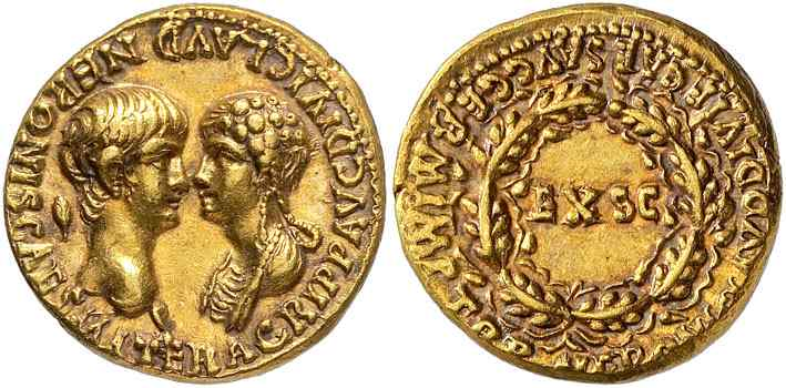 Roman coins with Nero and Agrippina
