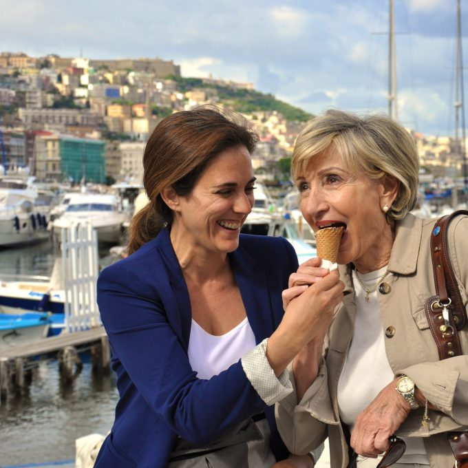 Katherine Wilson sharing a gelato with her mother-in-law Raffaele Avallone in Naples. Credit: Tara Crossley