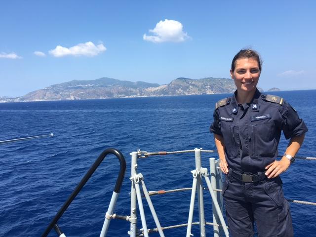 One of the many women sailors on the Italian aircraft carrier Garibaldi. Photo by Trisha Thomas, August 23, 2016