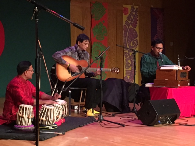 Bangladeshi singer Anup Barua performs with his musicians at celebrations in Boston for the 45th anniversary of Bangladesh's Victory Day. Photo by Trisha Thomas, December 17, 2016