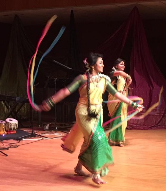 Traditional Bengali dancers with long braids, jingling ankle bracelets and silk saris. Photo by Trisha Thomas, Boston, Massachusetts, December 17, 2016