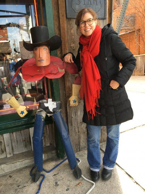 Trisha Thomas (me) with my Cowboy buddy in Fort Worth, Texas, Photo by Gwen Thomas. December 20, 2016