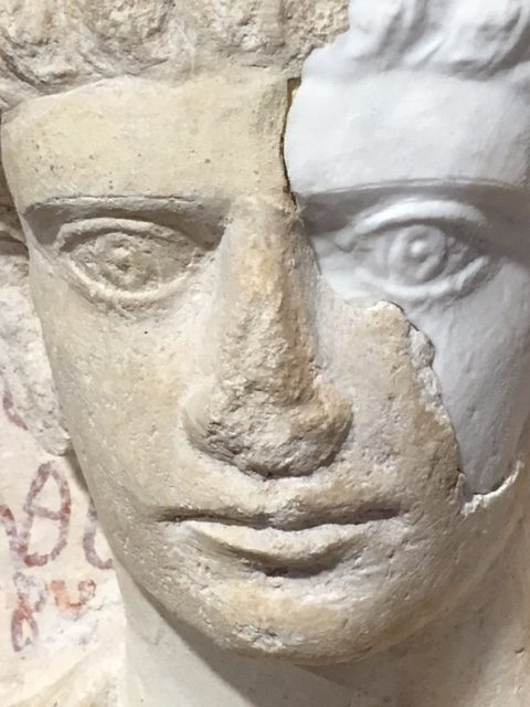 A male funerary bust from Palmyra, Syria, badly damaged by Islamic State Militants, is now being restored in Rome. Photo by Trisha Thomas, February 16, 2017