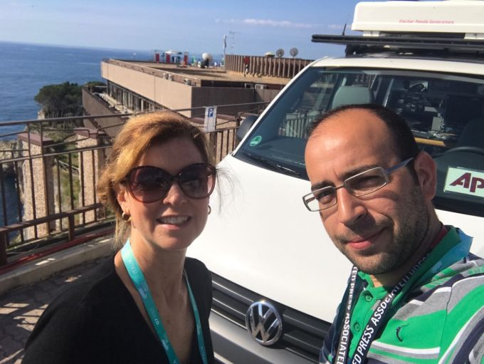 Hakan Kaplan, Trisha Thomas and our Satellite Truck UKI 991 at Capotaormina preparing for Live coverage of the G7 Summit. May 26, 1017 - Selfie by Hakan Kaplan