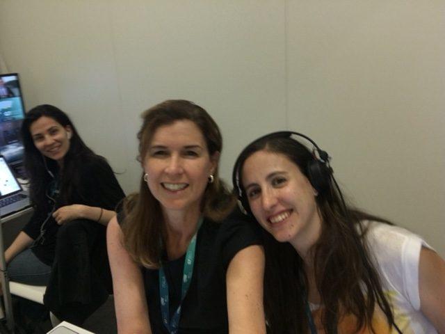 AP Television women - Ted Tongas (Athens bureau), Trisha Thomas (Rome Bureau) and Helena Alves (Lisbon Bureau) at work in the APTN workspace at the G7 Summit. May 27, 2017 - selfie stick photo by Trisha Thomas