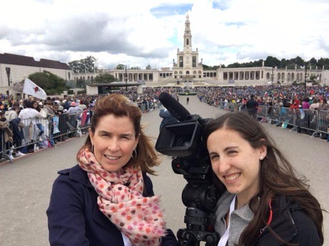 AP Television team of Trisha Thomas and Helena Alves at the Shrine of Our Lady of Fatima. Selfie-shot by Trisha Thomas, Fatima, Portugal, May 13, 2017.